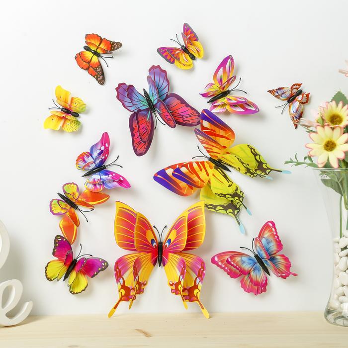 купить Магнит пластик Летние бабочки набор 12 шт МИКС h4,4,5,5,6,8,9,5,13,5,14,5 см