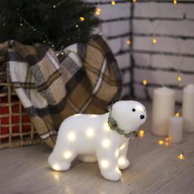 """Фигура световая """"Белый мишка"""", 22 LED, 20х20х10 см, фиксинг, от батар. (не в компл)"""