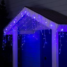 """Гирлянда """"Бахрома"""" 4 х 0.6 м , IP44, белая нить, 180 LED, свечение синее, мерцание белым, 220 В"""