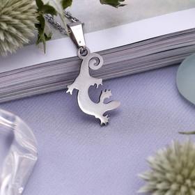 Кулон ассорти 'Стальной' ящерица, цвет серебро, 45 см Ош