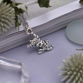 Кулон 'Котик' акробат, цвет серебро, 45 см Ош