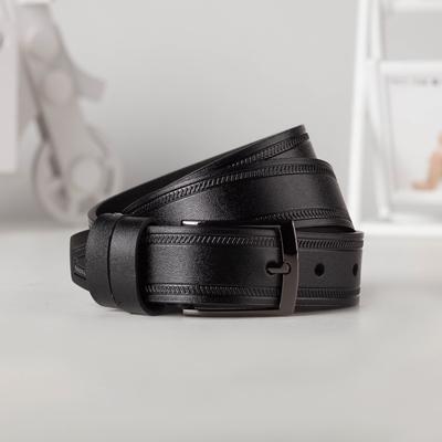 Ремень детский, ширина - 3 см, пряжка тёмный металл, цвет чёрный