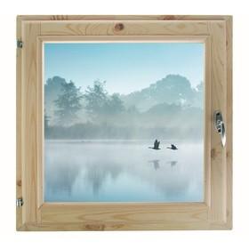 Окно, 50×50см, 'Туман над рекой', однокамерный стеклопакет Ош