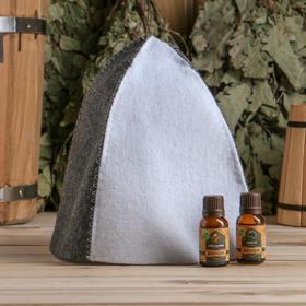 Набор для бани в коробке 'Классика' шапка серая, масло апельсина и пихты Ош