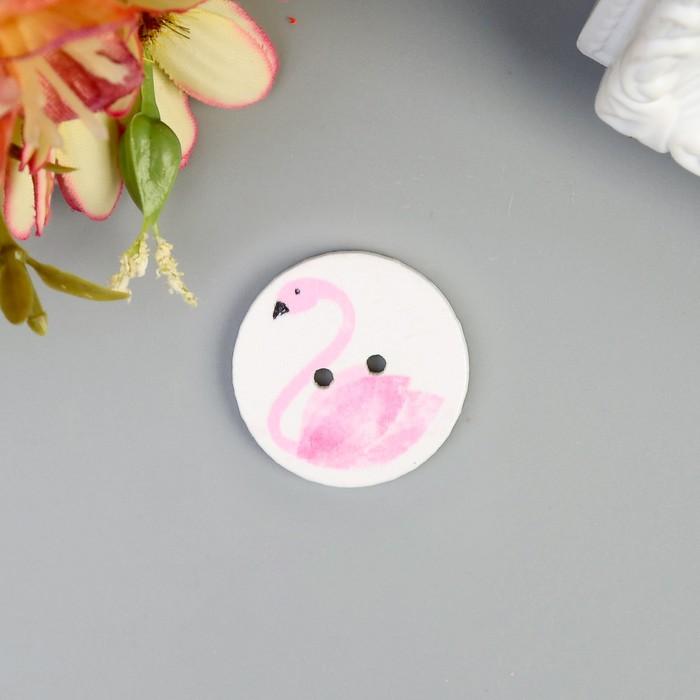 """Пуговица декоративная дерево """"Розовый фламинго"""" 2,5х2,5 см"""
