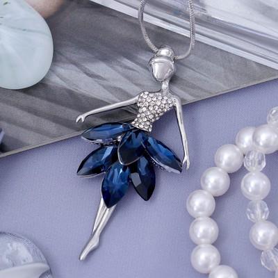 """Кулон """"Девочка в платье"""", цвет бело-синий в серебре, 72 см - Фото 1"""