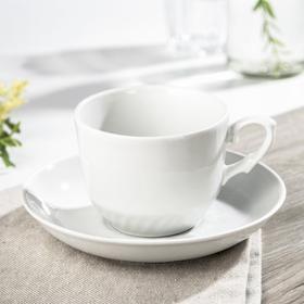 Чайная пара Добрушский фарфоровый завод «Кирмаш», 250 мл, блюдце 15 см, цвет белый