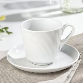 Чайная пара «Голубка», 220 мл, блюдце 14 см, цвет белый