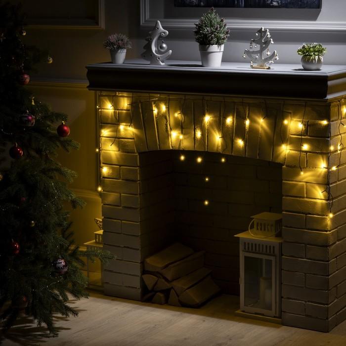 """Гирлянда """"Бахрома"""" 1.8 х 0.5 м , IP20, тёмная нить, 48 LED, свечение тёплое белое, 8 режимов, 220 В"""