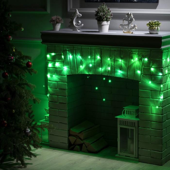 """Гирлянда """"Бахрома"""" 1.8 х 0.5 м , IP20, тёмная нить, 48 LED, свечение зелёное, 8 режимов, 220 В"""