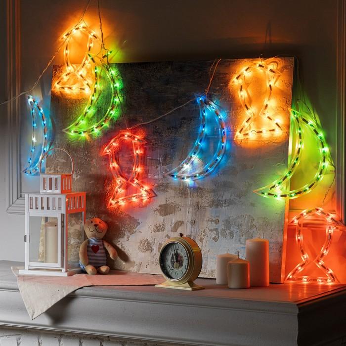 """Гирлянда """"Бахрома"""" 2.3 х 0.25 м с насадками """"Месяц и фонарь"""", IP20, белая нить, 120 ламп, свечение мульти, 8 режимов, 220 В"""
