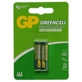 Батарейка солевая GP Greencell Extra Heavy Duty, AAA, R03-2BL, 1.5В, блистер, 2 шт.