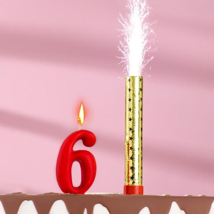 Свеча для торта цифра Овал красная 6  фонтан