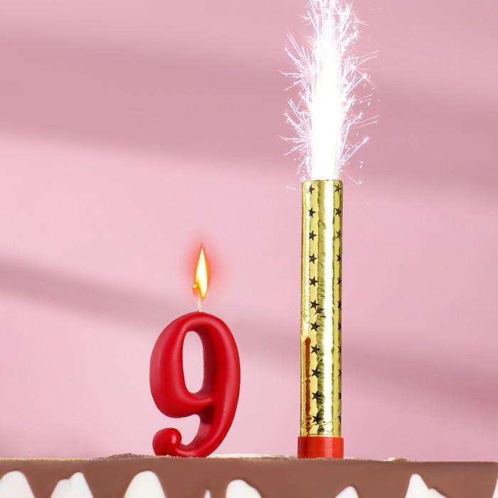 Свеча для торта цифра Овал красная 9  фонтан