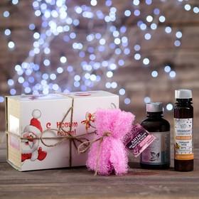 Новогодний набор для ванн женский: шампунь 200 мл, мочалка, тамбуканский гель для душа, органическая косметика 100 мл Ош