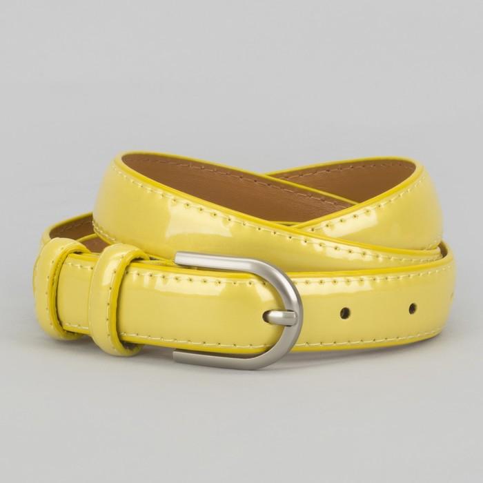 Ремень, 2 строчки, пряжка металл, ширина - 2,3 см, цвет жёлтый