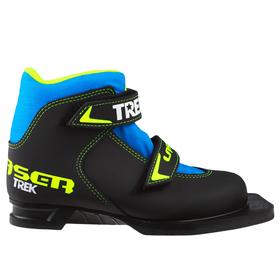 Ботинки лыжные TREK Laser NN75 ИК, цвет чёрный, лого лайм неон, размер 35