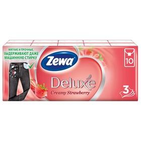 Платочки бумажные носовые Zewa Deluxe «Клубника», 10 упаковок по 10 шт.