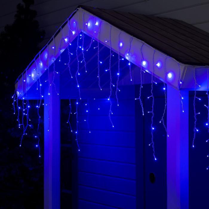 "Гирлянда ""Бахрома"" 3 х 0.6 м , IP44, УМС, белая нить, 160 SMD-LED, свечение синее, 220 В"