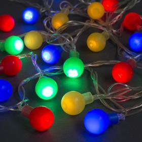"""Гирлянда """"Нить"""" с насадками """"Шарики Цветные"""", 5 м, LED-30-220V, 8 режимов, свечение мульти"""