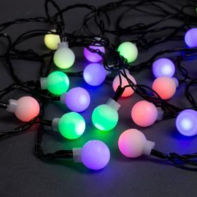"""Гирлянда """"Нить"""" 5 м с насадками """"Шарики белые"""", IP20, тёмная нить, 20 LED, свечение RG/RB, мигание, 220 В"""