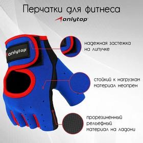 Перчатки спортивные, размер М, цвет синий/красный Ош