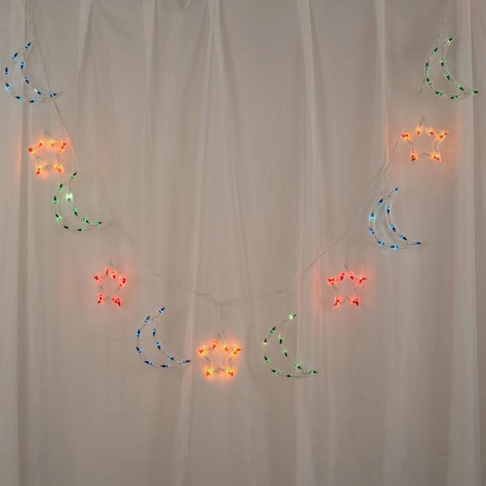 """Гирлянда """"Бахрома"""" 2.3 х 0.25 м с насадками """"Звезда и фонарь"""", IP20, белая нить, 120 ламп, свечение мульти, 8 режимов, 220 В"""