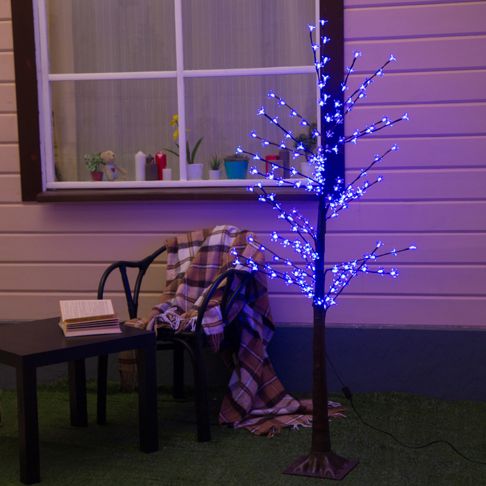 "Дерево светодиодное 1.2 м, ""Ромашки"", 160LED, 220V, СИНИЙ"