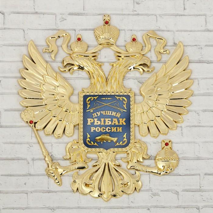 Герб настенный «Лучший рыбак России», 25 х 22,5 см