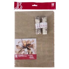 Набор для упаковки, WOODLY, два крафт листа 0,7 х 1 м, моток ленты декоративной 25 мм х 5 м   373087