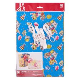 "Набор для упаковки, ""Детский праздник"", крафт, жёлтый, 0,7 х 1 м х 2, лента 15 мм х 3 м х 4   392092"