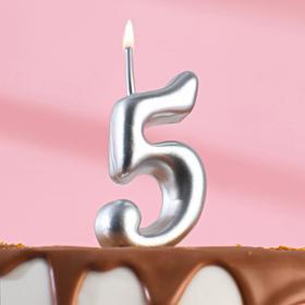 """Свеча для торта цифра """"Серебряная"""" """"5"""""""