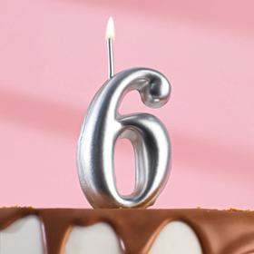 """Свеча для торта цифра """"Серебряная"""" """"6"""""""