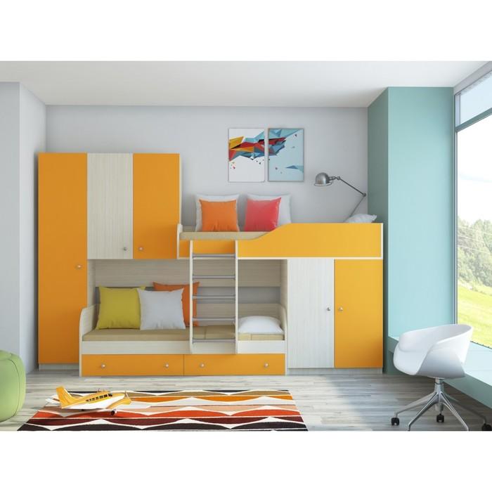 Детский комплекс «Лео», цвет дуб молочный/оранжевый