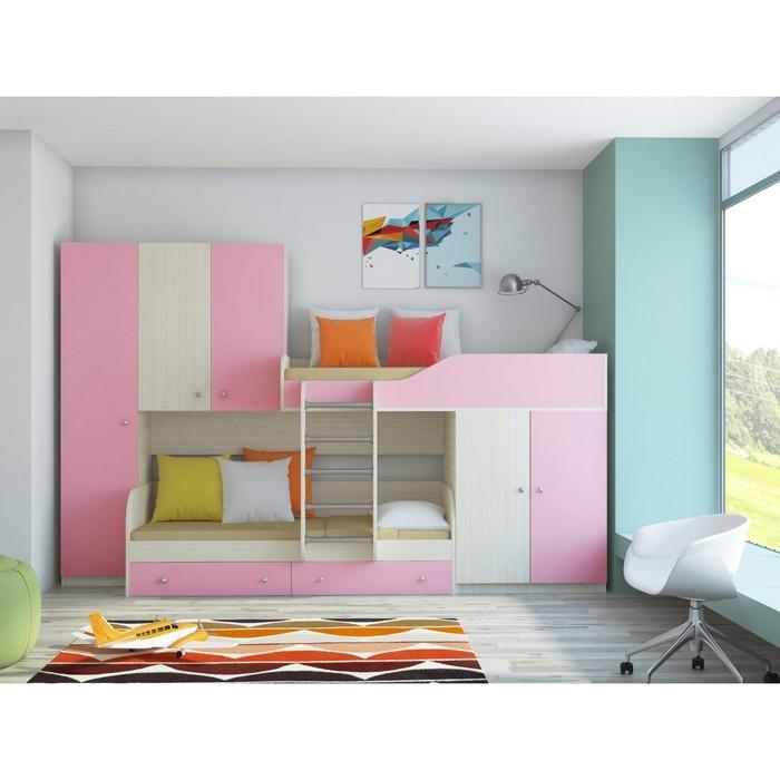 Детский комплекс «Лео», цвет дуб молочный/розовый