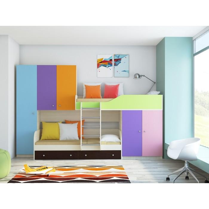 Детский комплекс «Лео», цвет дуб молочный/разноцветный
