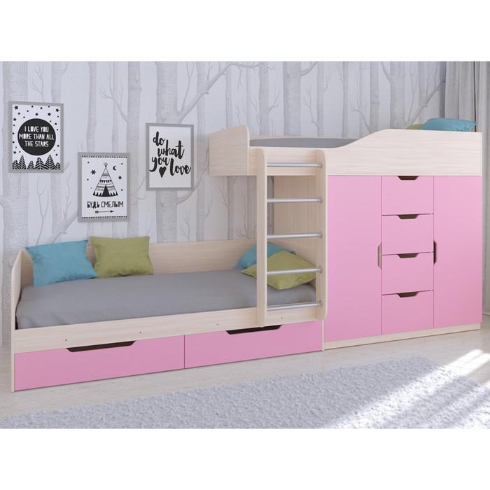 Детский комплекс «Астра 6», цвет дуб молочный/розовый