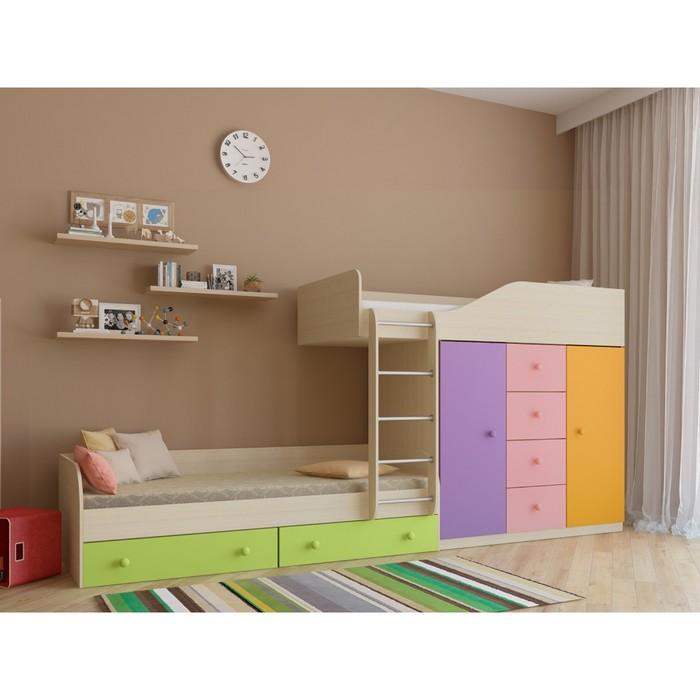 Детский комплекс «Астра 6», цвет дуб молочный/цветной розовый