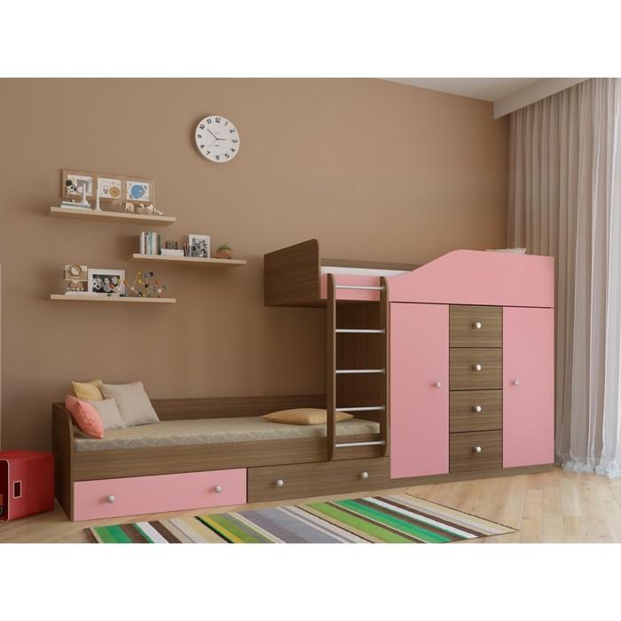 Детский комплекс «Астра 6», цвет дуб шамони/розовый