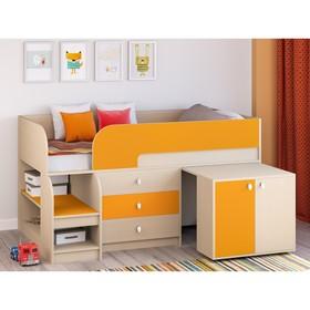 Детская кровать-чердак «Астра 9 V7», выдвижной стол, цвет дуб молочный/оранжевый Ош