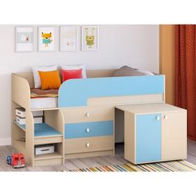 Детская кровать-чердак «Астра 9 V7», выдвижной стол, цвет дуб молочный/голубой Ош