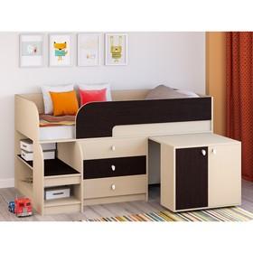 Детская кровать-чердак «Астра 9 V7», выдвижной стол, цвет дуб молочный/венге Ош