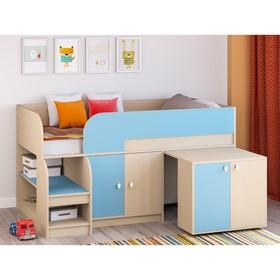 Детская кровать-чердак «Астра 9 V8», выдвижной стол, цвет дуб молочный/голубой Ош