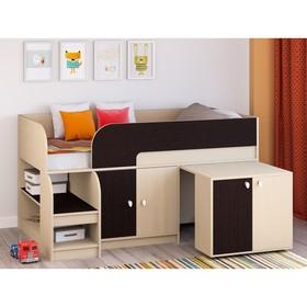 Детская кровать-чердак «Астра 9 V8», выдвижной стол, цвет дуб молочный/венге Ош