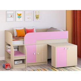 Детская кровать-чердак «Астра 9 V8», выдвижной стол, цвет дуб молочный/розовый Ош