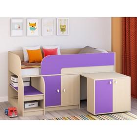Детская кровать-чердак «Астра 9 V8», выдвижной стол, цвет дуб молочный/фиолетовый Ош