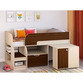 Детская кровать-чердак «Астра 9 V9», выдвижной стол, цвет дуб молочный/орех Ош