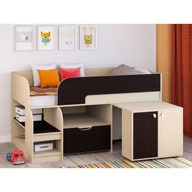 Детская кровать-чердак «Астра 9 V9», выдвижной стол, цвет дуб молочный/венге Ош