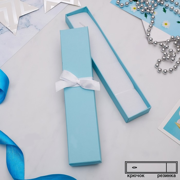 """Коробочка подарочная под браслет/часы/цепочку """"Тиффани"""", 21*4 (размер полезной части 20х4см), цвет бирюзовый"""