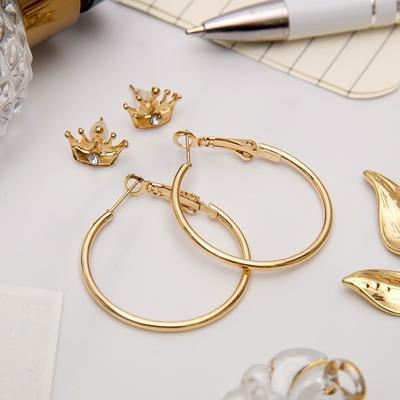 """Серьги-кольца с пуссетами """"Корона"""", цвет золото, d=2,5 см"""